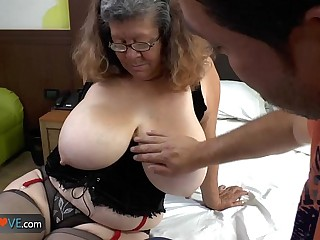 Agedlove granny with heavy Bristols banged