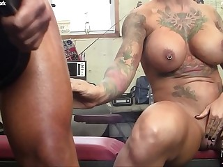 Several Big Tit Muscle Girls Play With Each Other In The Gym