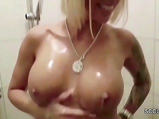 German Heavy Boob MILF Caught in Shower increased by Soft-soap to Fuck