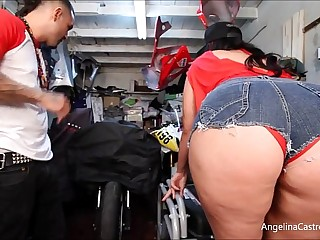 Big Titted Angelina Castro Fucks & takes Cumshot About Bike Garage!