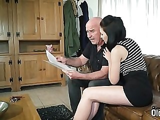 Young brunette big round Bristols gets fucked by grandpa in hardcore young old