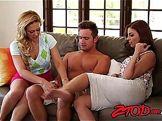 Two big teat cougars fuck one lucky guy