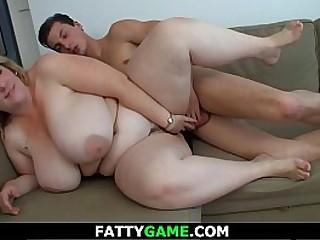 Big tits blonde bbw spreads legs for him