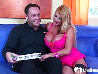 She will seduce him with her big tits before she receives his strut boner.