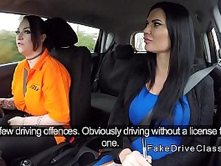 Outstanding tits in the car with the teacher