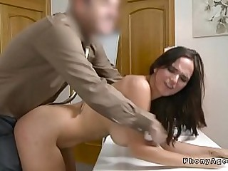 Big tits brunette sucks huge dick to fake agent