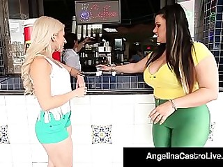 BBW Angelina Castro Drills Cristi Ann WIth A Tie in On!