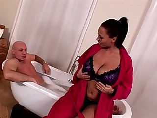 Busty babe Dominno rides massive dick concerning reverse cowgirl until she can't static
