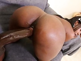 Petite ebony girl with a tits ass gets crushed by a huge black dick